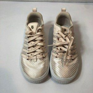 K-Swiss Lace Sneakers Rose Gold Pink White Size 1